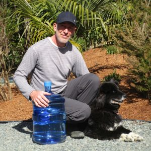 Steve with his dog Olive and Denman Water