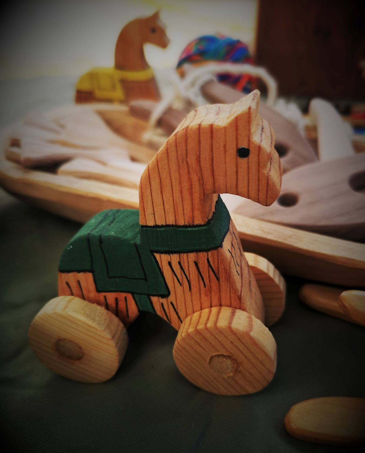A wooden toy horse Jamie created based on an archeological find from the 13th century.
